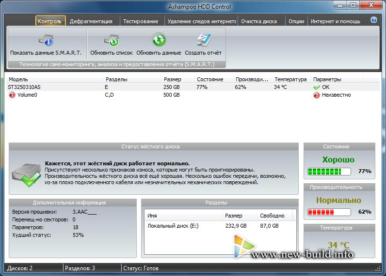 Ashampoo HDD Control предоставляет пользователю все важные факты и инфор