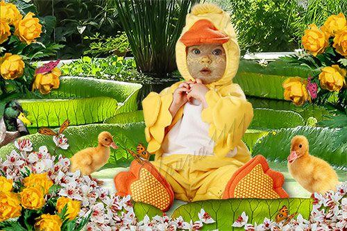 Детский шаблон для фотошоп - Утенок