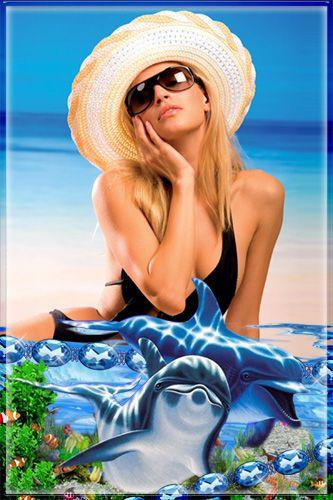Рамка для Photoshop - Дельфины