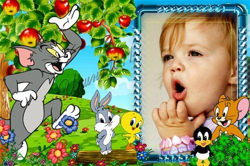 Детская рамка для Photoshop - Том и Джерри на полянке