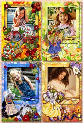 Детские винтажные рамки для Photoshop - Слоненок