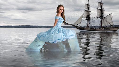 В море - Шаблон для фотошоп