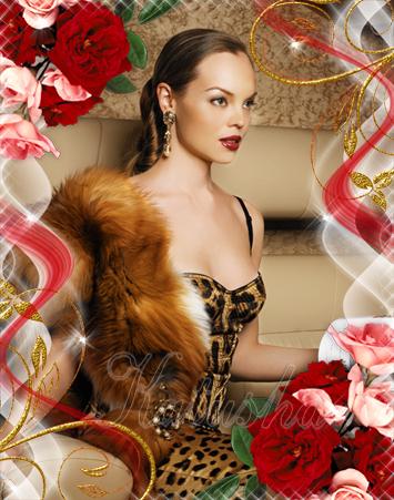 Женская рамка для фото - Красные розы