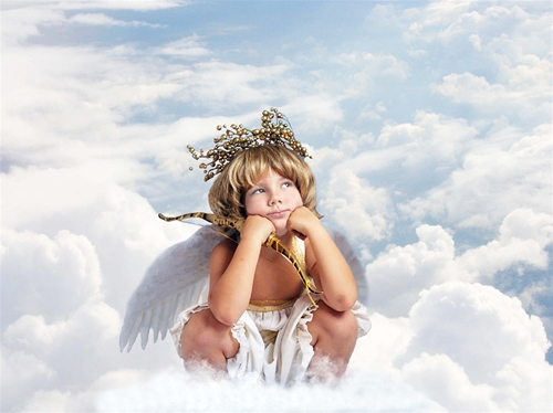 Детские шаблоны для фотошопа:Купидон-ангелочек.