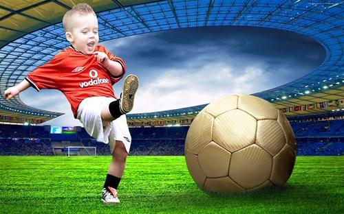 Детский шаблон для фотошопа: Я люблю футбол.