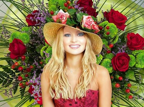 женский шаблон для фотошопа: Роза.