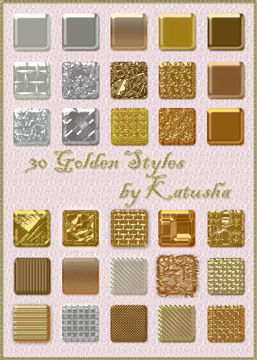 Набор золотых стилей для Photoshop