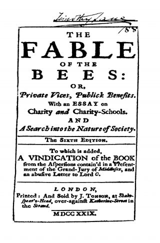essays on the fable of the bees Home - philosophy - mandeville - fable of the bees an essay on charity, and charity-schools.