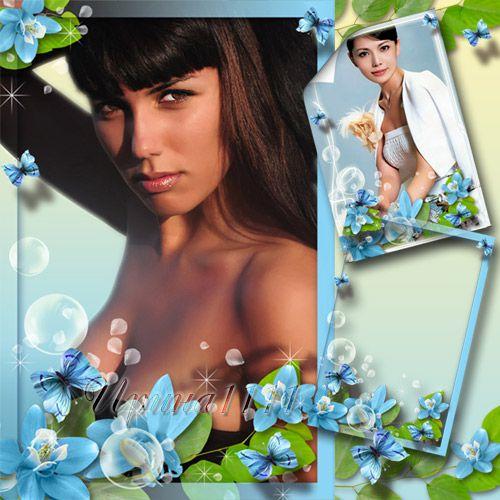 Рамка для фото с голубыми цветами