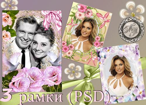 3 рамки для фотошопа – Нежность. (PSD формат)