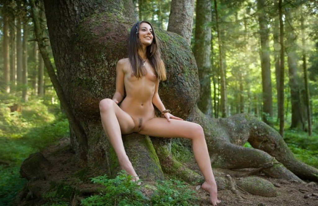 Young Brunette Girl Strips Her Pink Dress In The Dark Forest Thenude 1
