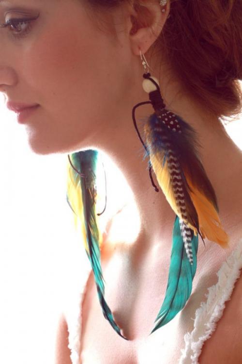 Как сделать из перьев серьги