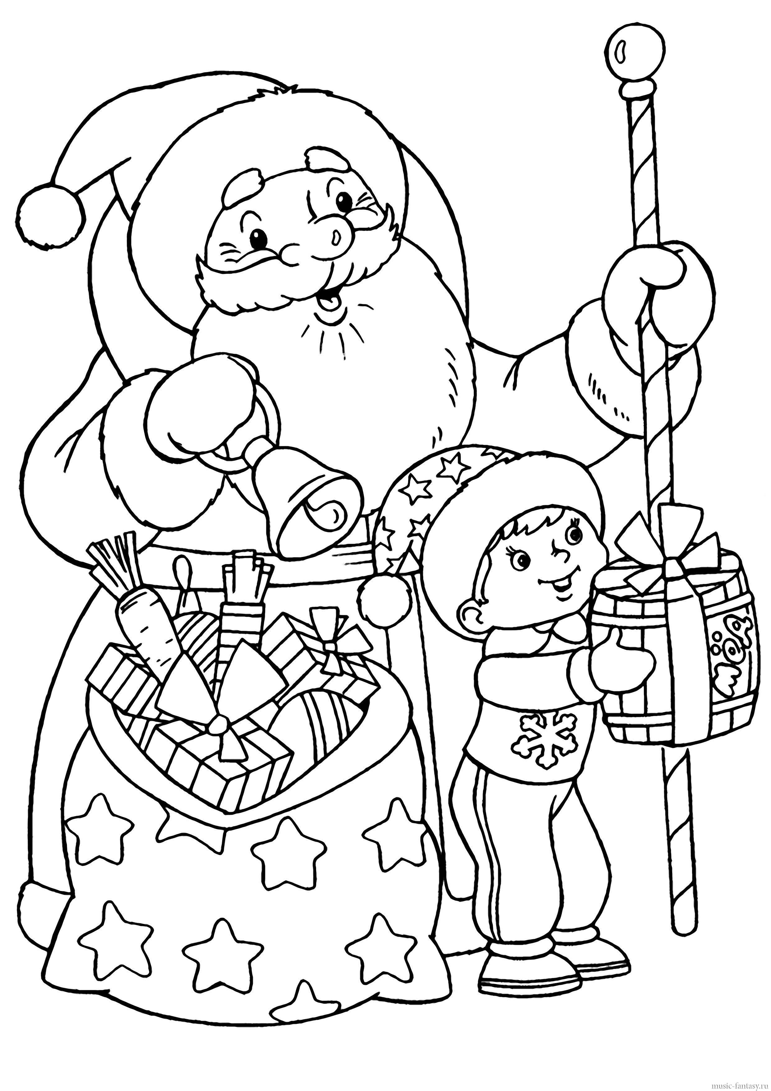 """Мы собрали тематические  """"зимние """" раскраски для ваших детей: раскраски Деда Мороза, Снегурочки, Снеговика и зимнего..."""