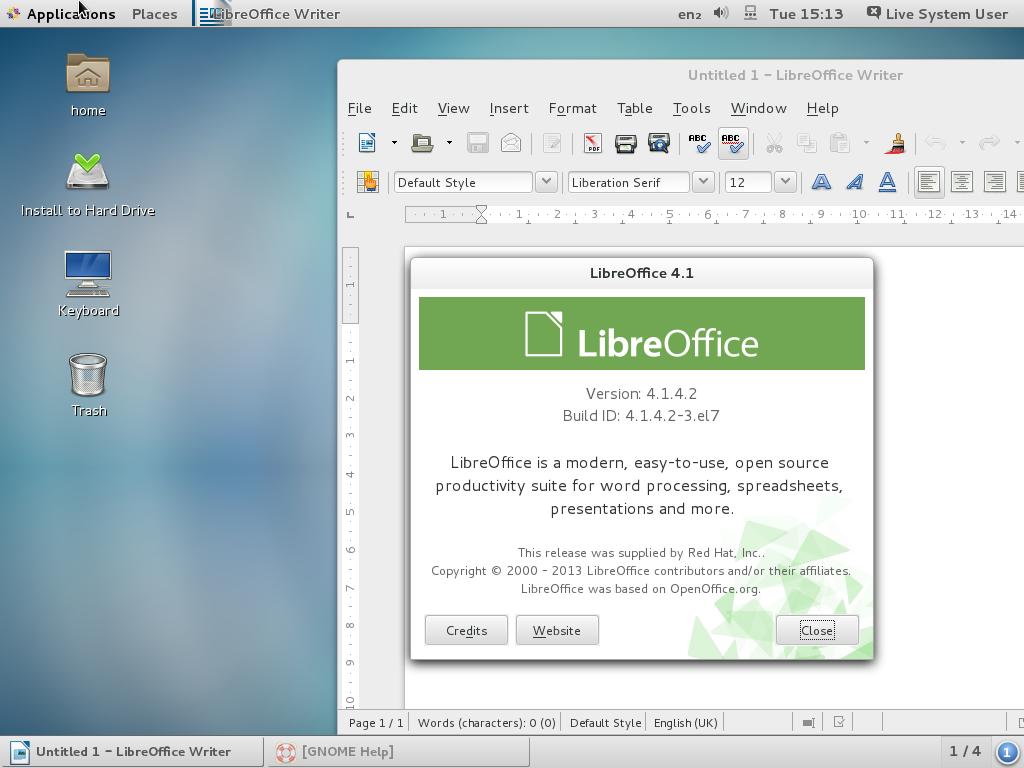 Скриншот CentOS v7.0-1406 №2