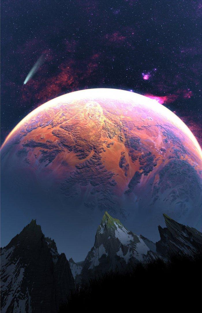 Восход спутника на горизонте 1