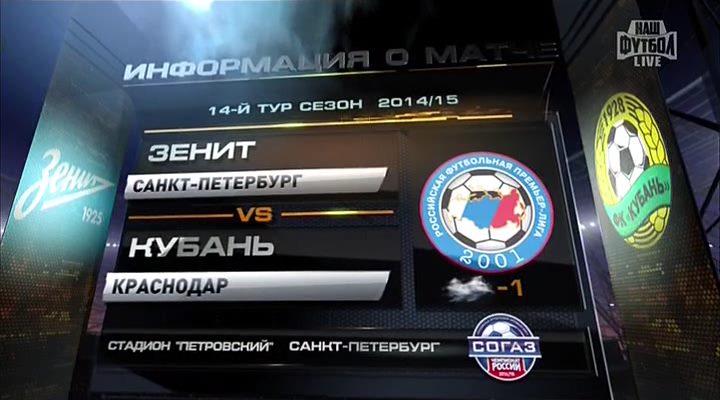 Футбол. Чемпионат России 2014-2015 (14 тур). Зенит - Кубань (2014) SATRip