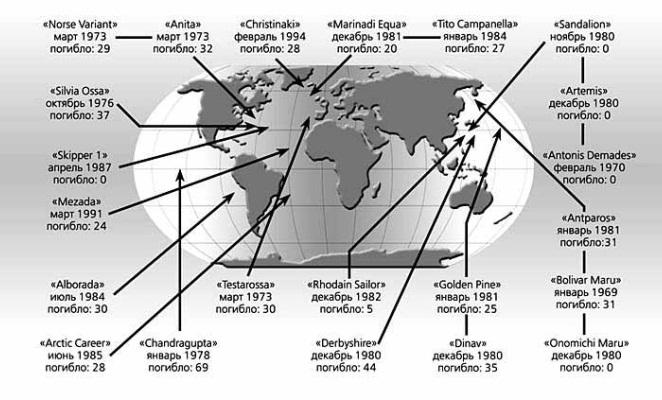 районы наиболее частого возникновения волн убийц в Северной-Атлантике