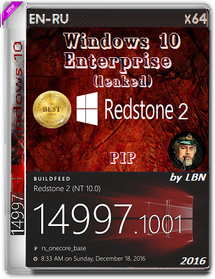 Windows 10 Enterprise (leaked) 14997.1001 rs2 PIP by Lopatkin (x64) (2016) Rus/Eng