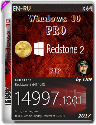 Windows 10 Pro 14997.1001 rs2 PIP by Lopatkin (x64) (2017) Rus/Eng