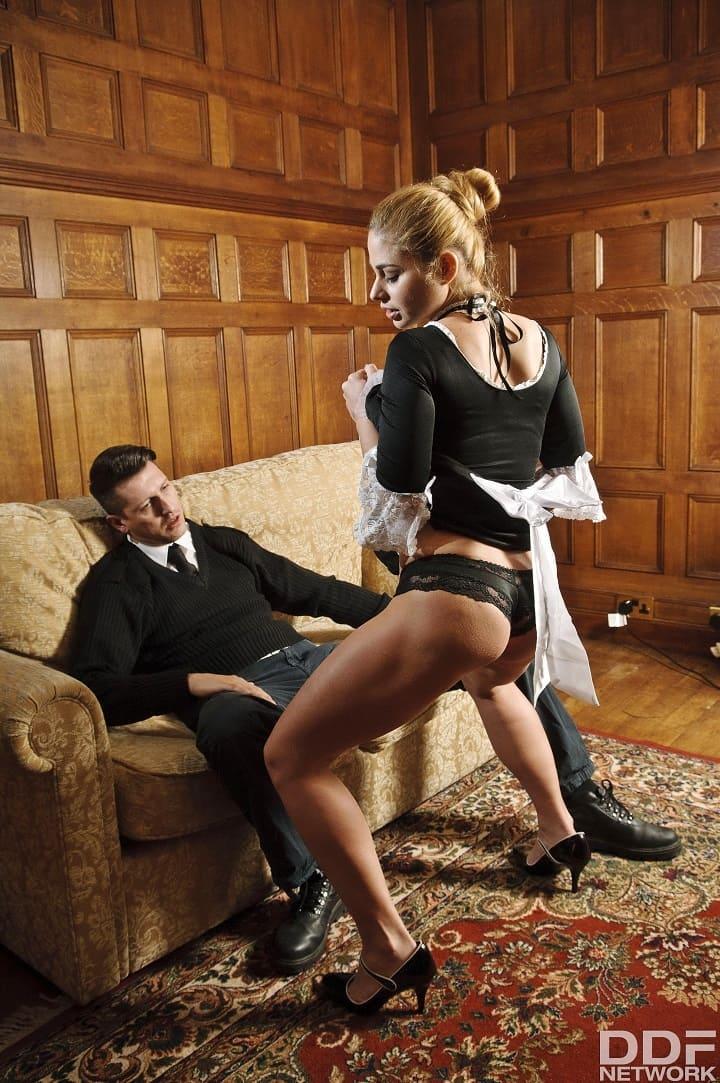 [HandsOnHardcore.com / DDFNetwork.com] Cathy Heaven (Maiden Experience: Busty Glamour Milf Fucked Really Hard / 19.08.2017) [2017 г., Big tits, Blonde, Blowjob, Dress, Hardcore, High Heels, Lingerie, Maid, Milf, 1080p]