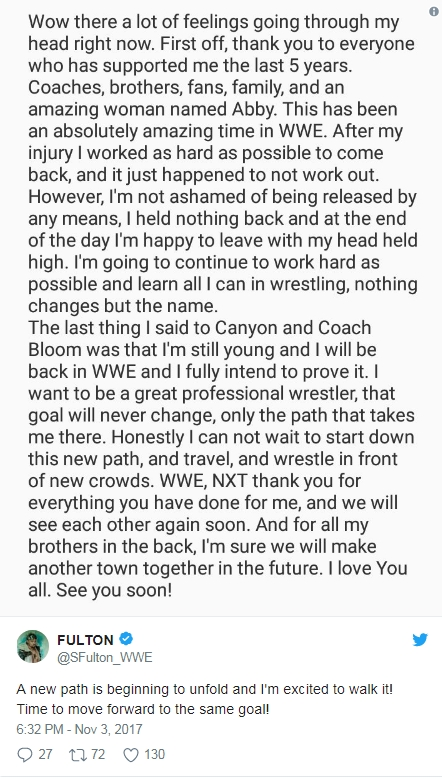 Сойер Фултон уволен из NXT
