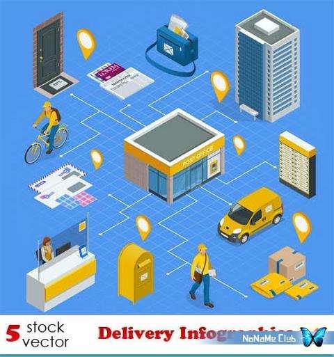 Векторный клипарт - Delivery Infographics 14 [AI]