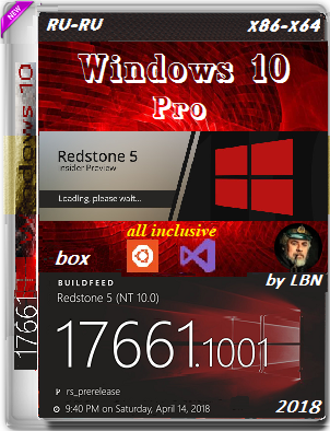 Windows 10 Pro 17661.1001 rs5 Prerelease BOX by Lopatkin (x86-x64) (2018) {Rus}