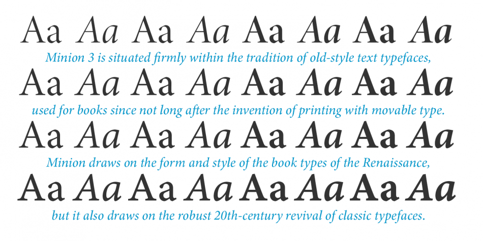 Шрифты семейства Minion 3