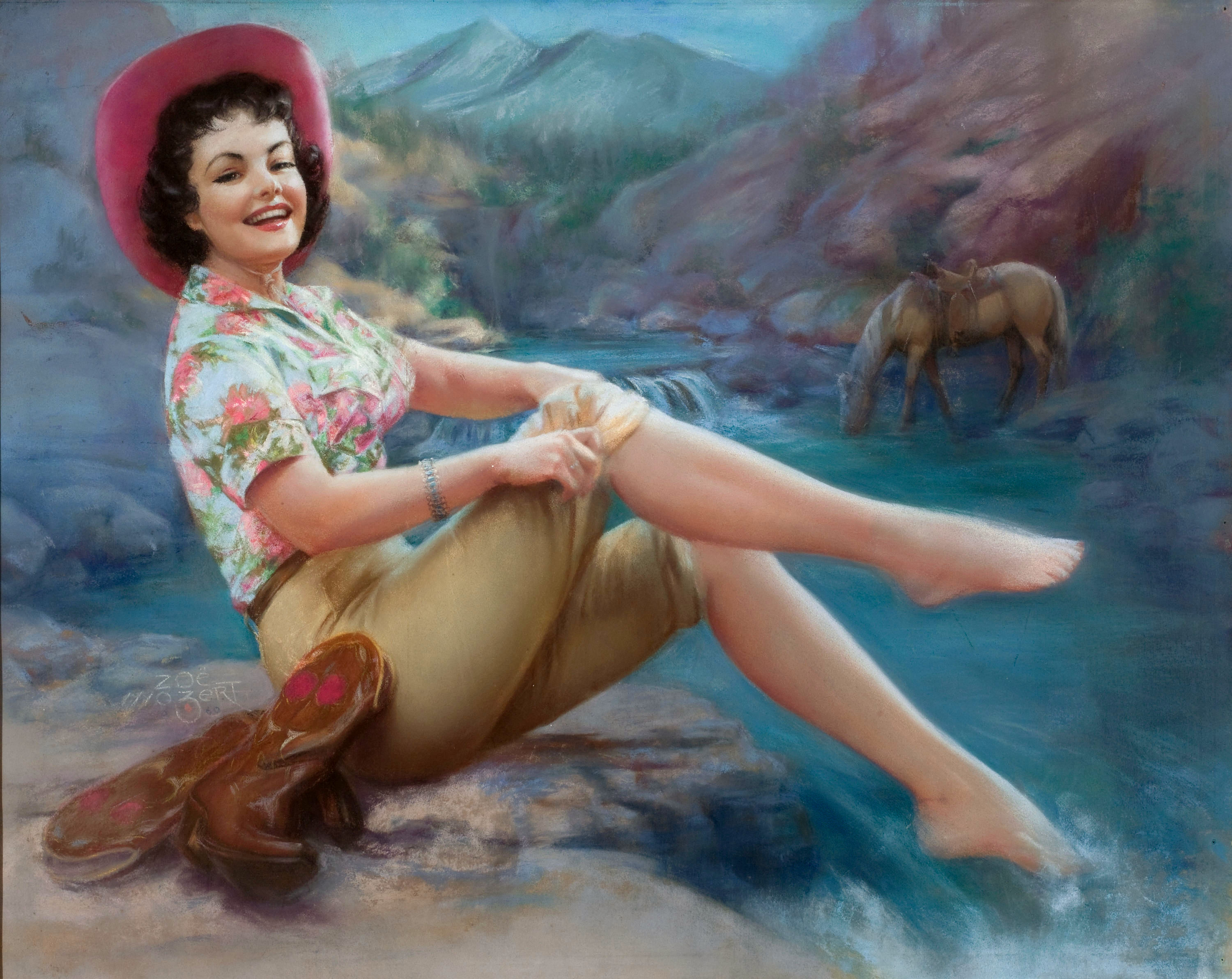 Cowgirl with Toes in the Stream, 1960.jpg