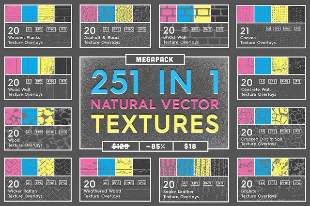Текстуры - Creative Market - 251 Natural Vector Textures Megapack - 1989925 [PNG, JPG, EPS, AI]