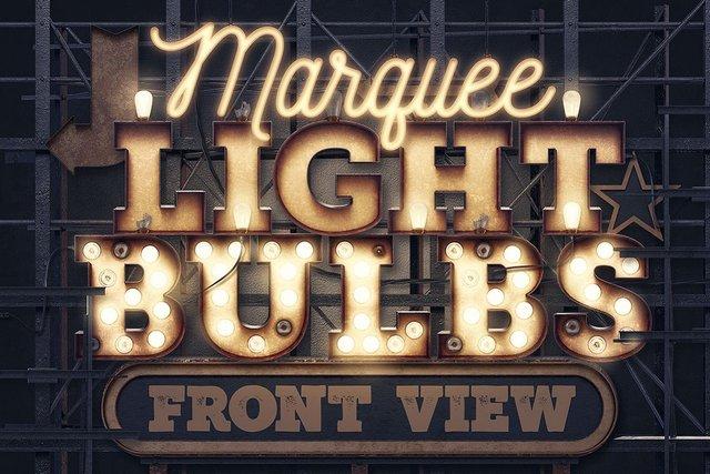 Шаблоны - Creative Market - Marquee Light Bulbs - Front View - 1617135 [PNG, PSD, JPG, AI]