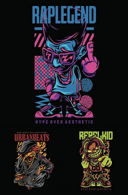 Векторный клипарт - Collection of illustrations for different hip-hop themes [EPS]