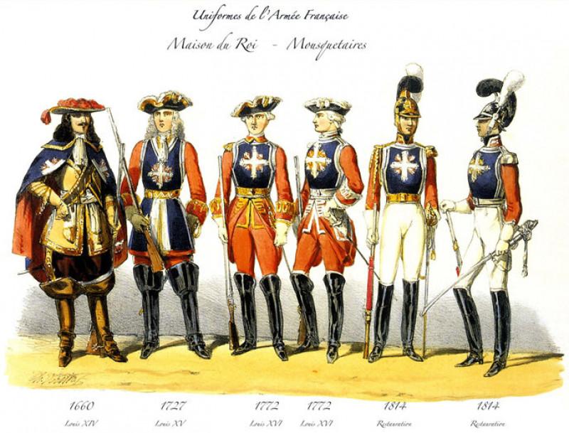 Униформа королевских мушкетеров в 1660—1814 гг.